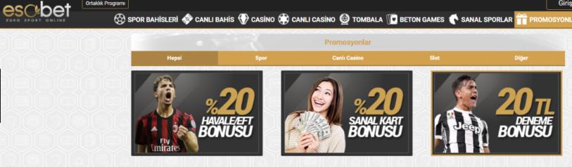 Esobet bonusları